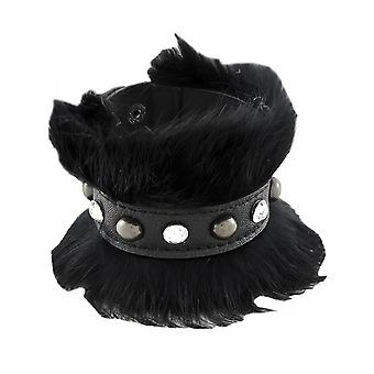 Black Faux Leather Fur and Rhinestone Wristband Bracelet
