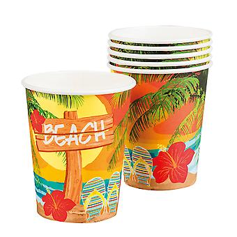 Hawaiian Pack of 6 Paper Cups Beach Party Tableware Supplies