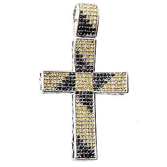 925 Sterling Silber MICRO PAVE Anhänger - CROSS multi
