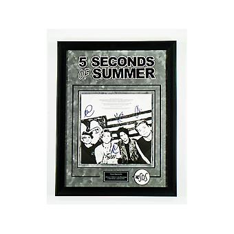 5 Seconds of Summer Signed Picture Poster in Framed Case