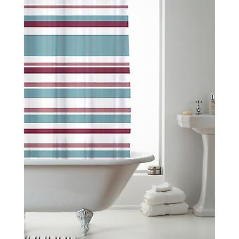 Country Club Shower Curtain Stripe Pink and Teal 180 x 180cm