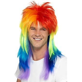 Mullet wig rainbow redneck Gay Pride Rainbow 80s