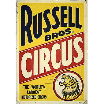 Russell Bros Circus Vintage Circus Poster Poster Print Giclee