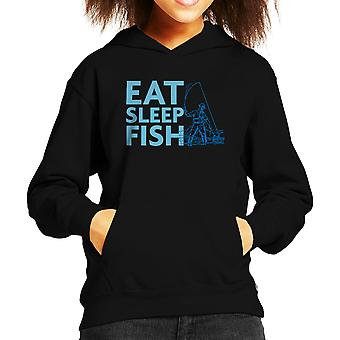 Eat Sleep Fish Blue Fisherman Kid's Hooded Sweatshirt