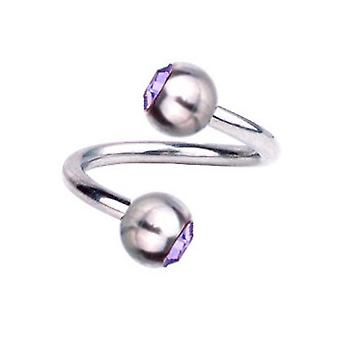 Torsion spirale Piercing titane 1,6 mm, SWAROVSKI éléments violet | 8 - 12 mm