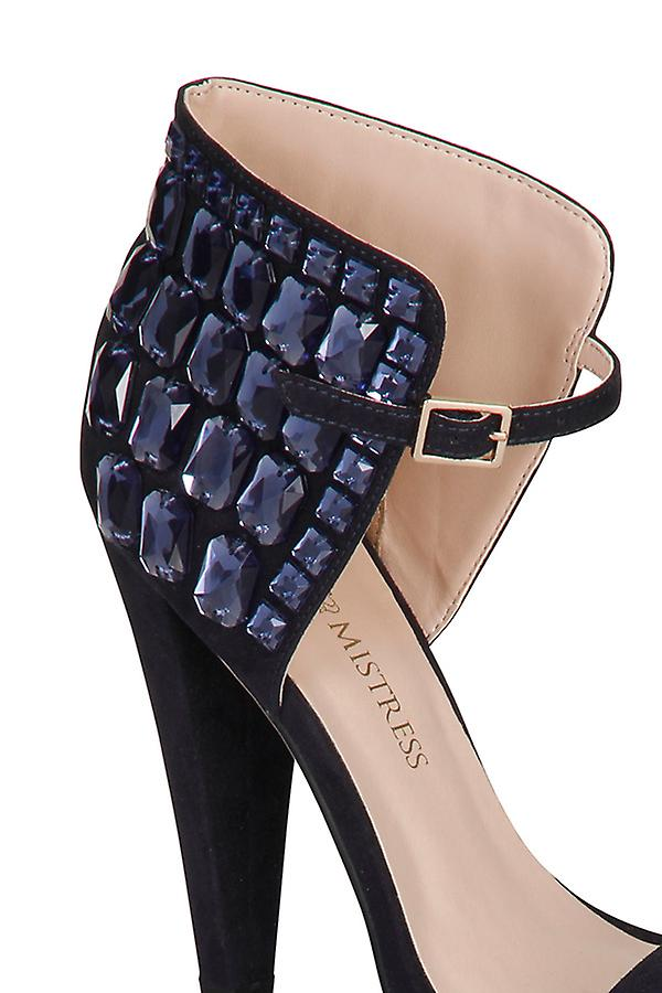 Little Mistress Navy Gem Ankle Detail Heels