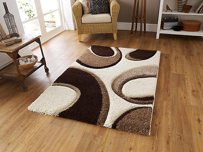 Fashion Carving 7648 Ivory-Brown Ivory, light brown and chocolate brown Rectangle Rugs Modern Rugs