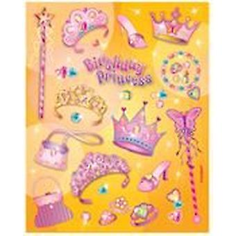 SALE - 4 Sheets of Birthday Princess Stickers for Kids | Princess Kids Crafts