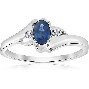 1/2ct Oval Blue Sapphire Diamond Ring 14K White Gold