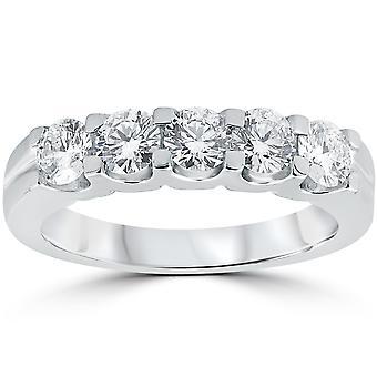 1ct diament Wedding Ring rocznica wieżowych zespół 14K białe złoto