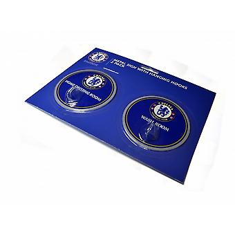 Chelsea FC Official Football Robe Hook Sign (Pack Of 2)