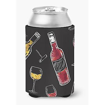 Carolines Treasures  BB5197CC Red and White Wine on Black Can or Bottle Hugger