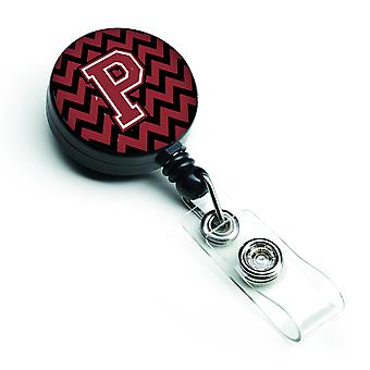 Letter P Chevron Garnet and Black  Retractable Badge Reel