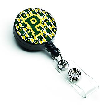Letra P del balompié verde y amarillo retráctil divisa carrete