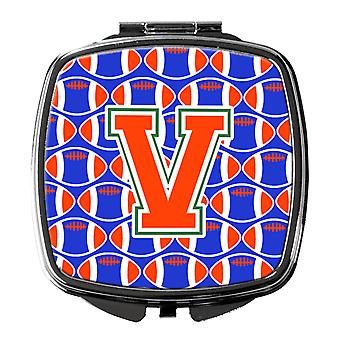 Letter V Football Green, Blue and Orange Compact Mirror