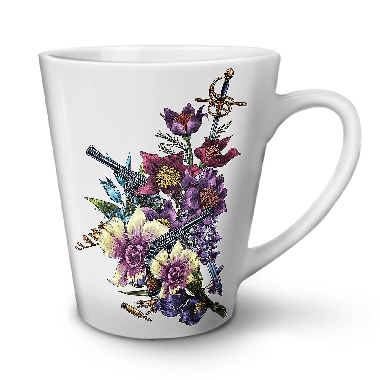 12 OzWellcoda Café Nouvelle Cool Latte Fleurs Tasse Blanc En De Céramique Pistolet Gangster y8NvwOmn0