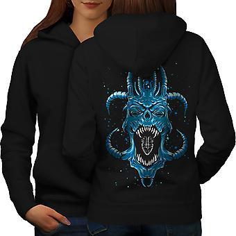 Satan Horror Fantasy Frauen BlackHoodie Rückseite blau | Wellcoda