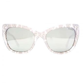 Guess Peaked Sunglasses In White Lace Effect