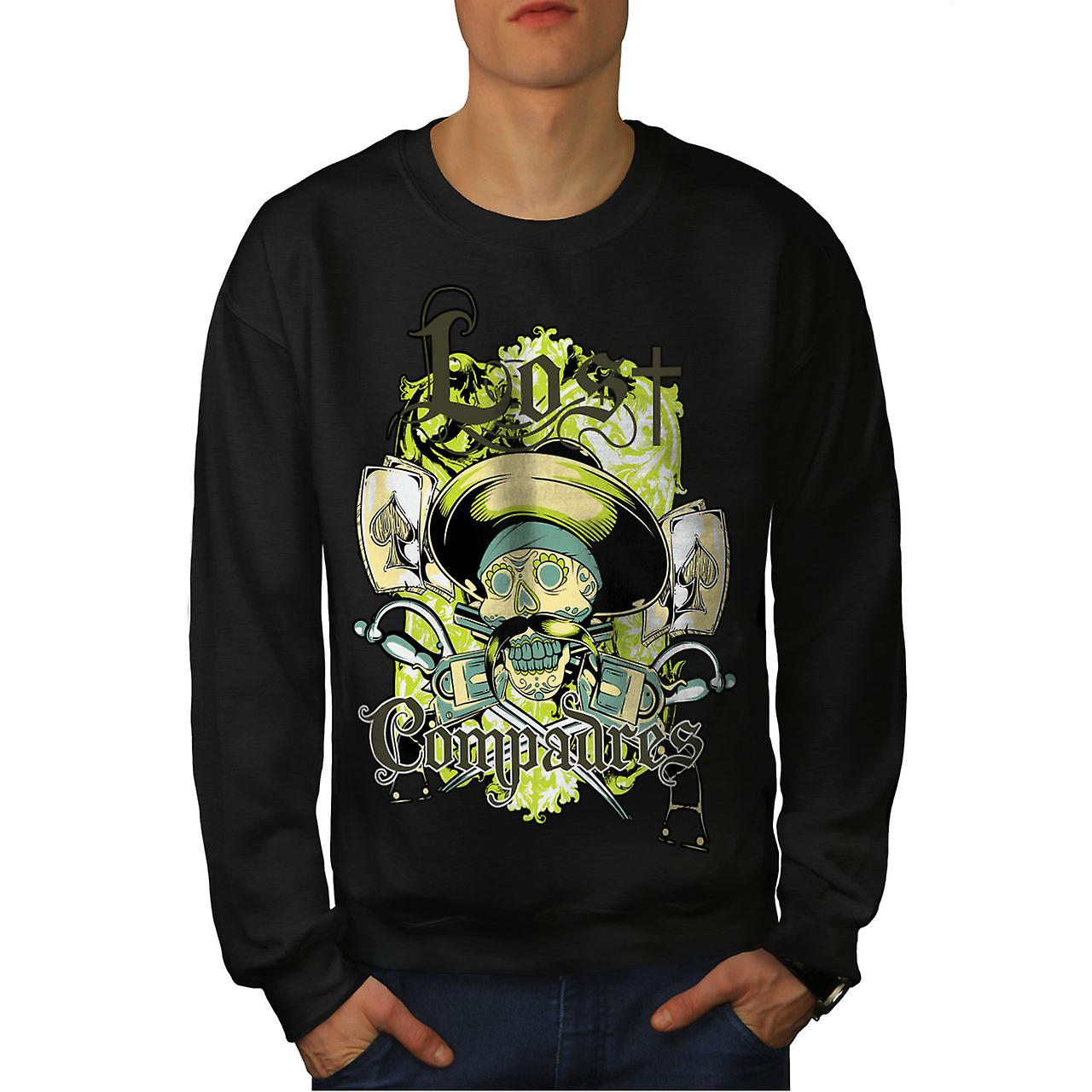 Lost Compadres Cool Skull Men BlackSweatshirt | Wellcoda