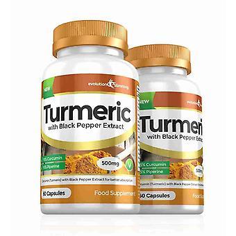 Turmeric 95% Curcumin and Black Pepper Extract 500mg - 120 Capsules - Fat Burner - Evolution Slimming