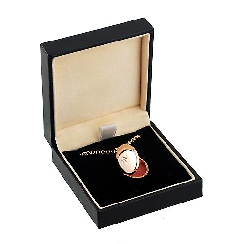9ct Rose Gold 22x15mm diamond set oval Locket with Belcher Chain