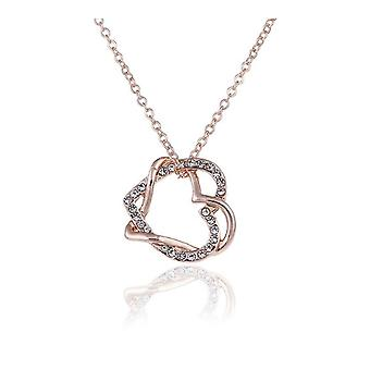 Womens Rose Gold Double Love Heart Necklace