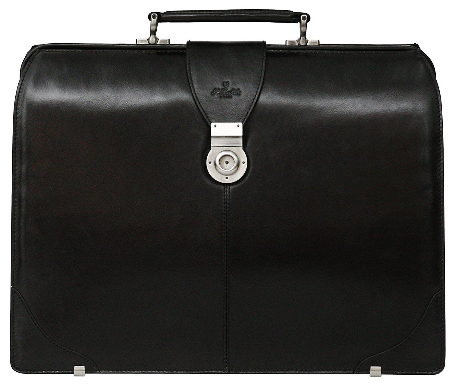 S Babila Leather Business Gladstone Doctors Briefcase Top Opening Lawyers Bag
