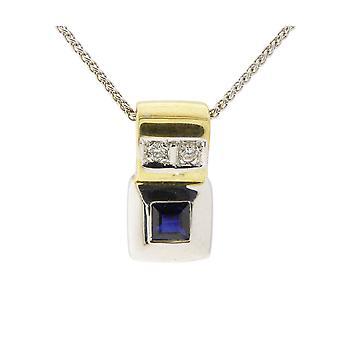 Bicolor sapphires pendant with diamonds