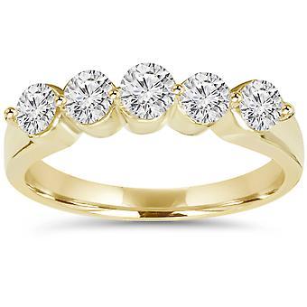 3 / 4ct Diamant Hochzeit 14K Gelb Gold neu Damen-Ring