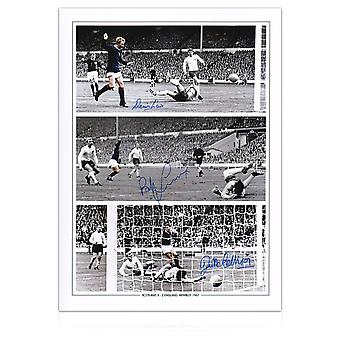 Scotland Photograph Signed By Denis Law, Bobby Lennox And Jim McCalliog