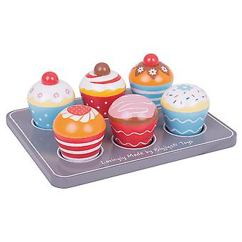 Bigjigs Toys aus Holz Cup Cakes und hölzernen Muffinbackblech - Play Food for Kids