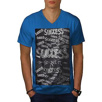 Success Go Get It Men Royal BlueV-Neck T-shirt   Wellcoda
