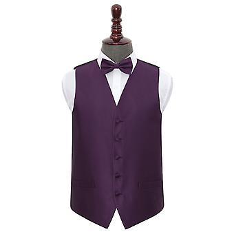 Cadbury Purple Solid Check Wedding Waistcoat & Bow Tie Set