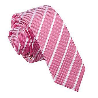 Hot Pink & White Single Stripe Skinny Tie