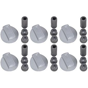 6 x botão de controle do novo mundo Universal forno fogão Grill Hob e adaptadores prata
