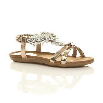 Ajvani kvinners flat polstret komfort t-bøylen spenne blomst diamante sandaler