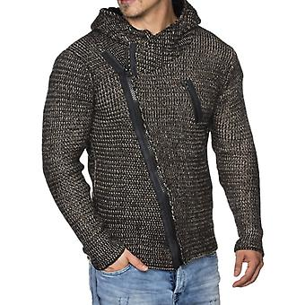 Tazzio fashion mens knitted jacket with hood black