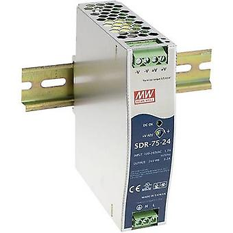 Mean Well SDR-75-24 Rail mounted PSU (DIN) 24 Vdc 3.2 A 76 W 1 x