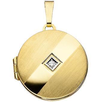 Medallón redondo colgante 333 oro amarillo oro rodio en parte parcialmente helado 1 Circonita oro Medaillon