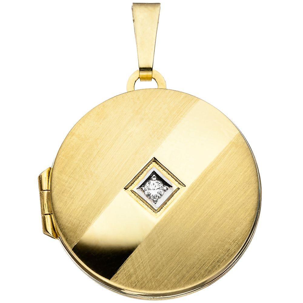 Medaillon rond Anhänger 333 or jauneor teilrhodiniert teilmatcravatert 1 Zirkonia ormedaillon
