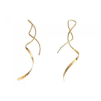 Earring Loop shape textured RIBBON GOLD earrings gold plated