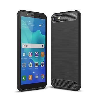 Huawei Honor 7s TPU Case Carbon Fiber Optik Brushed Schutz Hülle Schwarz