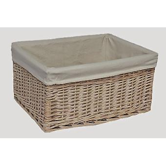 Blanco mediano forrado cesta del almacenaje