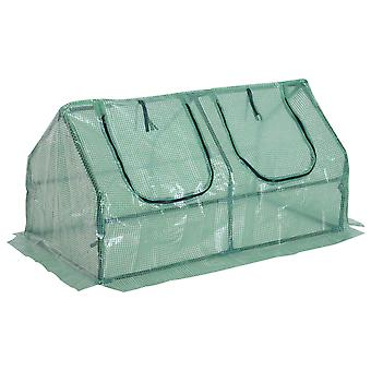 Outsunny Cold Frame Greenhouse Plants Foil Tomato Vegetable House W/ 2 Windows 120x60x60 cm