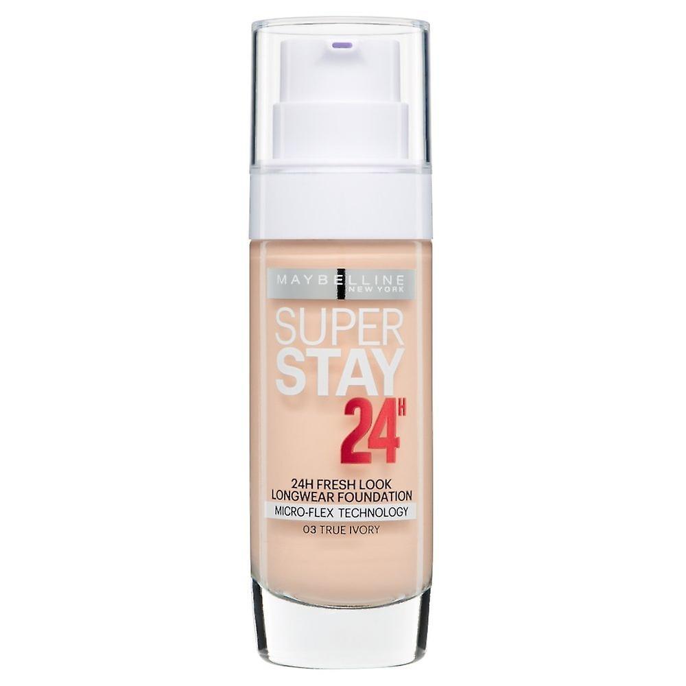 3 x Maybelline Superstay 24H Fresh Look Longwear Foundation 30ml - 03 True Ivory