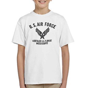 US Airforce Keesler AF Base Mississippi Black Text Kid's T-Shirt