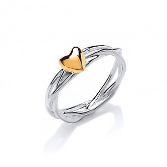 Cavendish French Silver and gold vermeil heart and wreath ring
