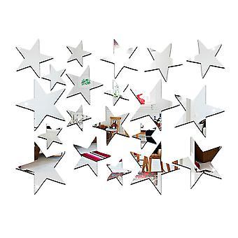 TRIXES 23PC зеркальные Серебряная звезда наклейки установить украшение для дома