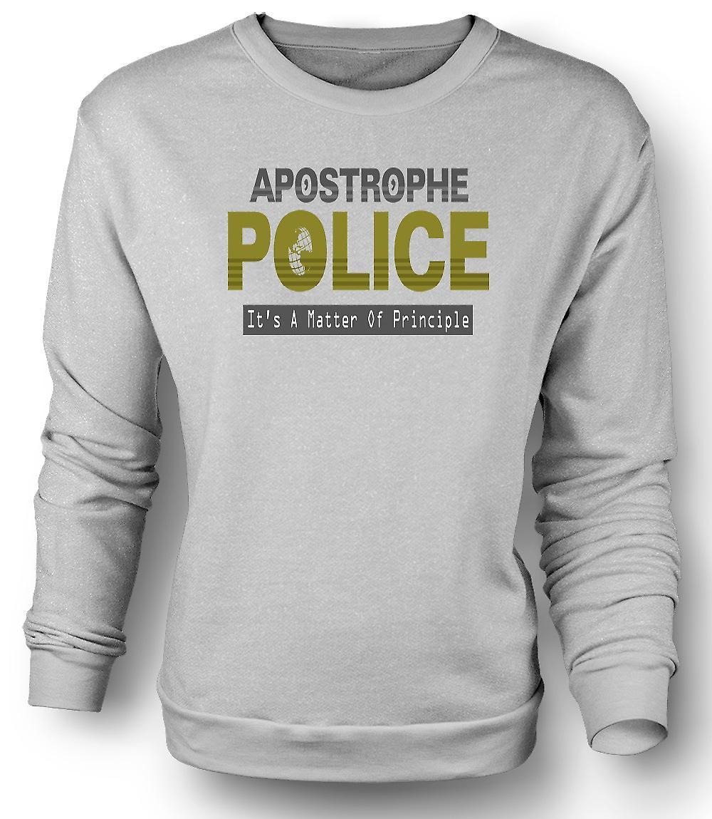 Mens Sweatshirt apostrof politiet - Funny