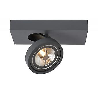 Lucide Nenad Ar111 Rectangle moderne en aluminium gris plafonnier Spot